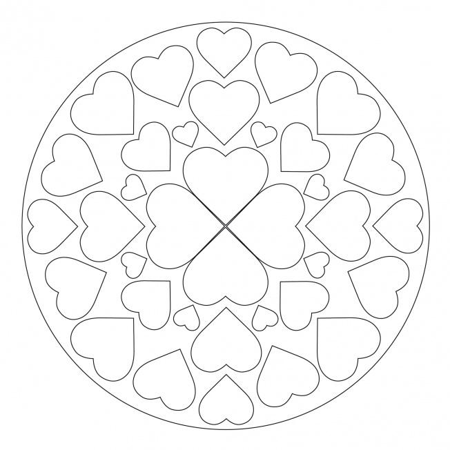 Herz-Mandala 5 für Kindergarten, KiTa und Schule