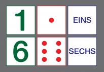 Bildkarten mit Zahlen, Wörtern und Würfelbildern von 1-6