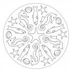 Summer Mandala with Sea Creatures - Easy