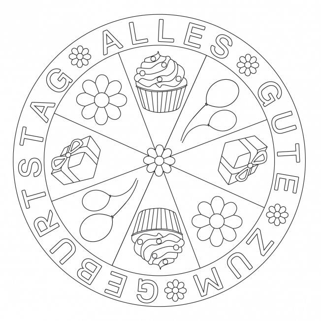 Geburtstags-Mandala mit Blumen
