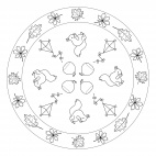 Fall Mandala with Leaves, Kites and Squirrels