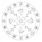 Mandala mit Blättern, Drachen und Eichhörnchen