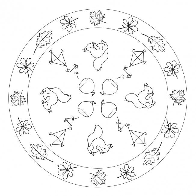 Herbst Mandala Mit Blättern Eichhönchen Und Drachen Für
