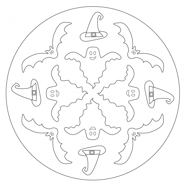 Halloween Mandala with Ghosts and Bats for pre-K, kindergarten and ...