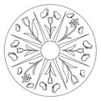 Frühlings-Mandala mit Narzissen und Schmetterlingen